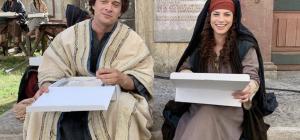 Emma sul set con Claudio Santamaria
