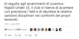 """Calcio: """"Napoli usa il sapone"""", bufera sul coro offensivo del baby Juve"""